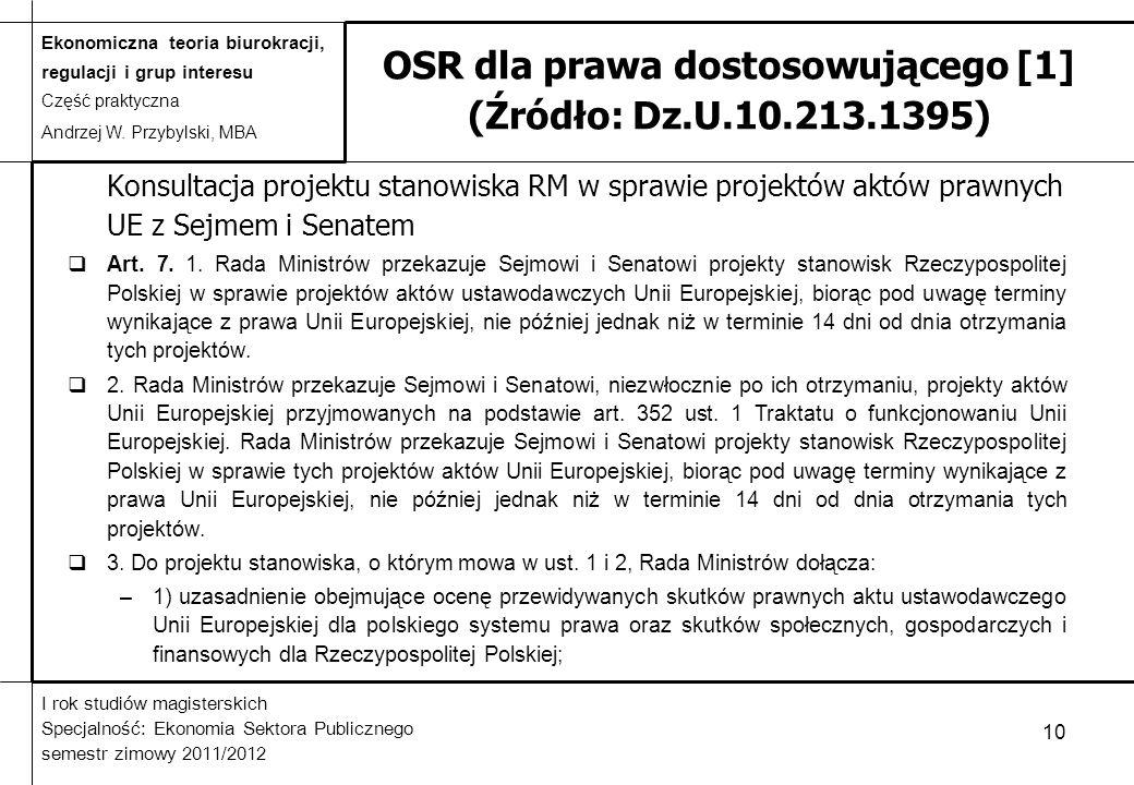 OSR dla prawa dostosowującego [1] (Źródło: Dz.U.10.213.1395)